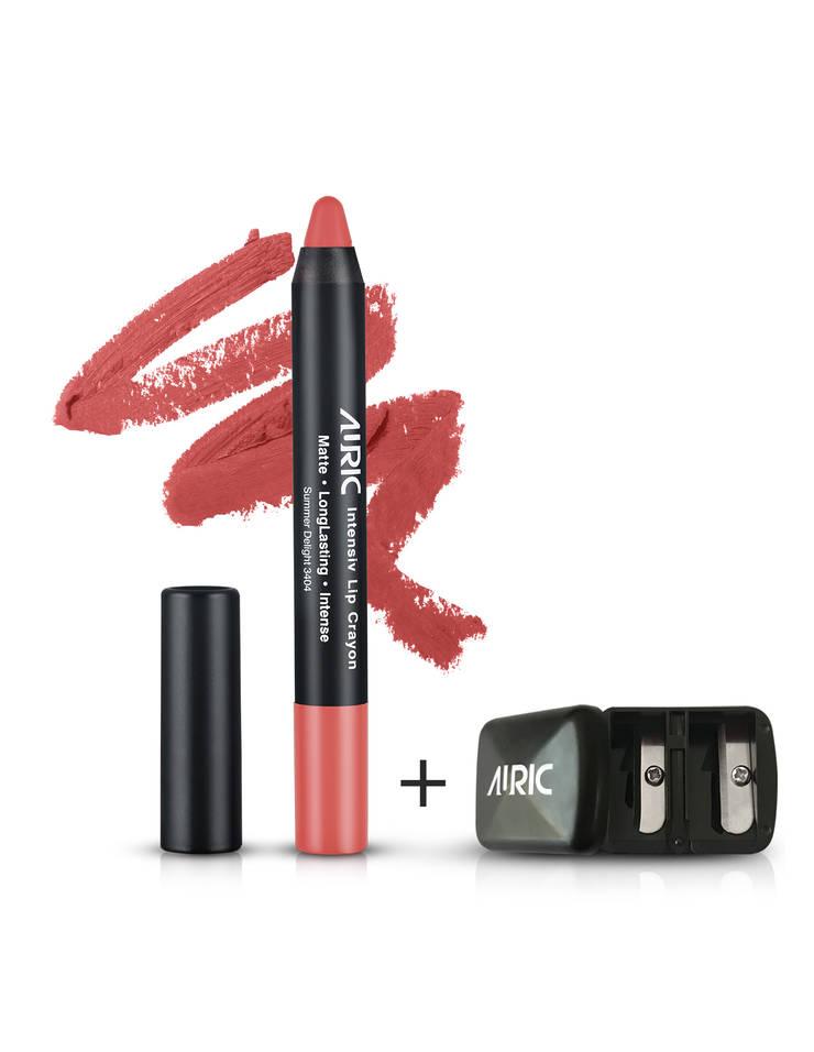 Auric Lipstick Intensiv Lip Crayon Summer Delight-3404, 2.8 gm + Free Sharpener