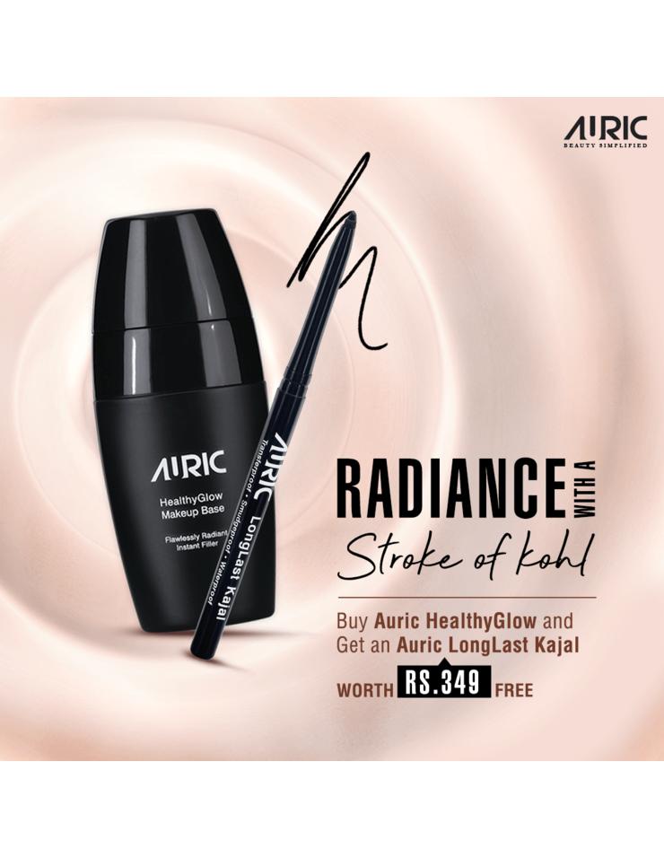 HealthyGlow Makeup Base + Auric LongLast Kajal, Ebony Black Free